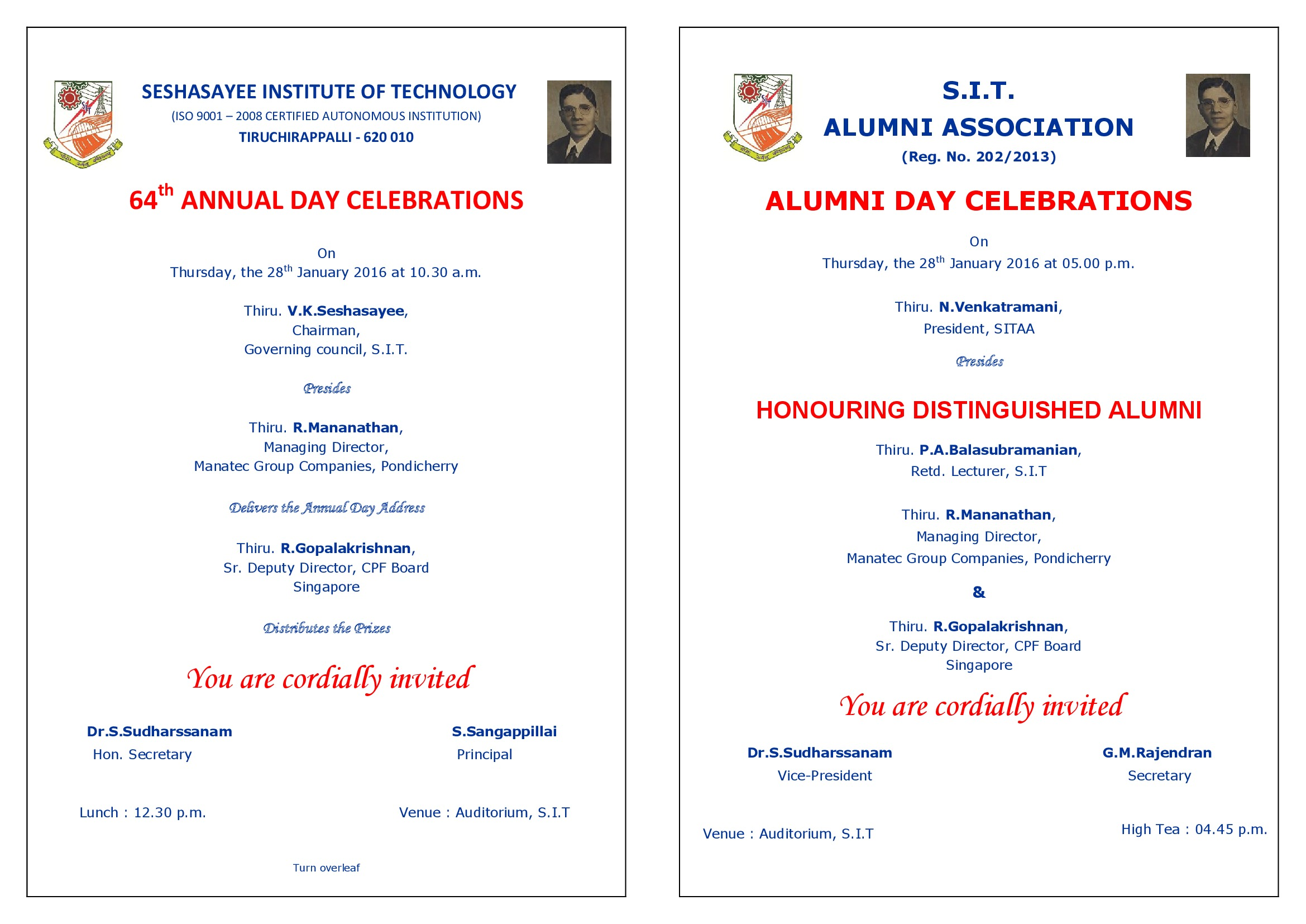 Invitation 2016g 64 th annual day on 28th january 2016 at 1030 am alumni day on 28th january 2016 at 500 pm celebrations invitation stopboris Image collections